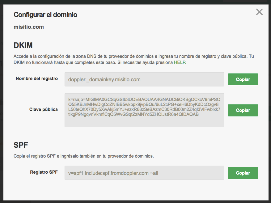 Configurar dominio en DKIM