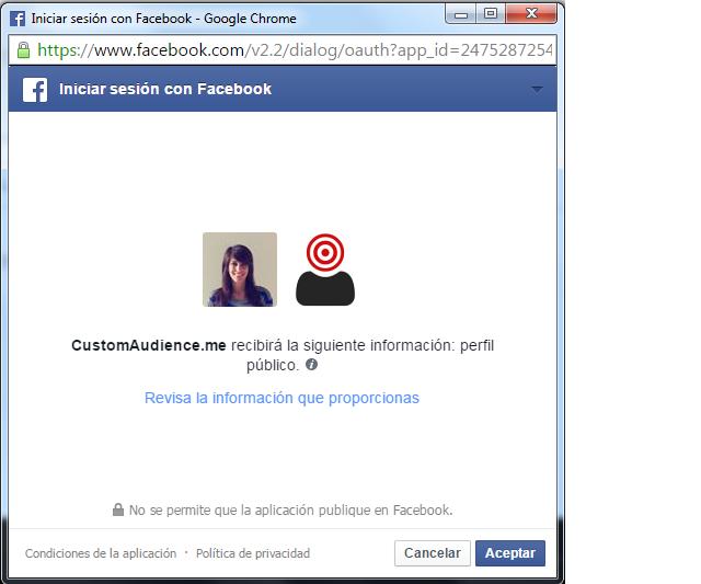 seleccionar cuenta de Facebook