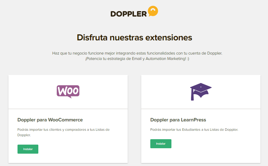 Woocomerce y Learnpress para Doppler
