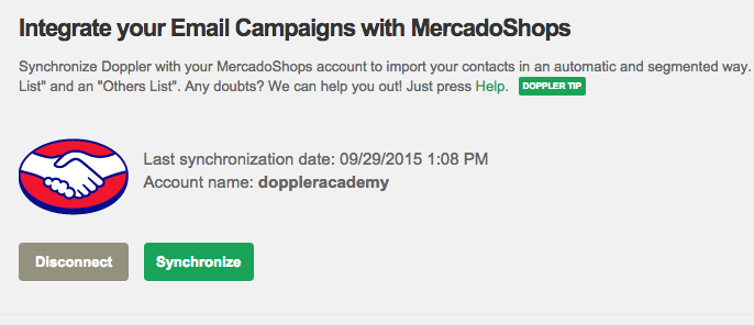 MercadoShops integration with Doppler