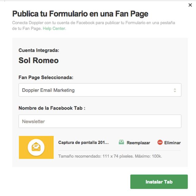 Formulario Fan Page