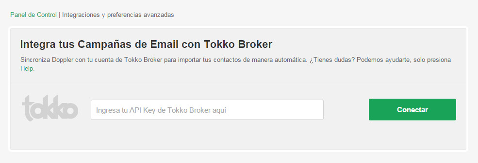 Api Key Tokko Broker integración con Doppler