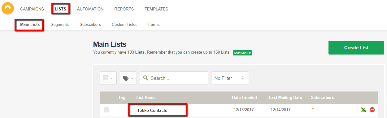"Check your ""Tokko Contacts"" in your ""LISTS"" menu in Doppler."