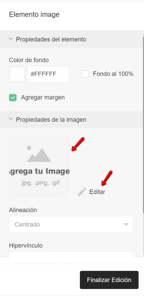Agregar imagen o Editar