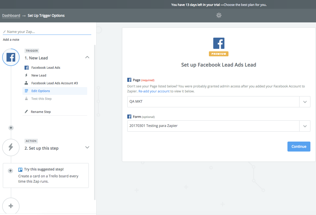 Integración Doppler- Facebook Lead Ads - Seleccionar Formulario