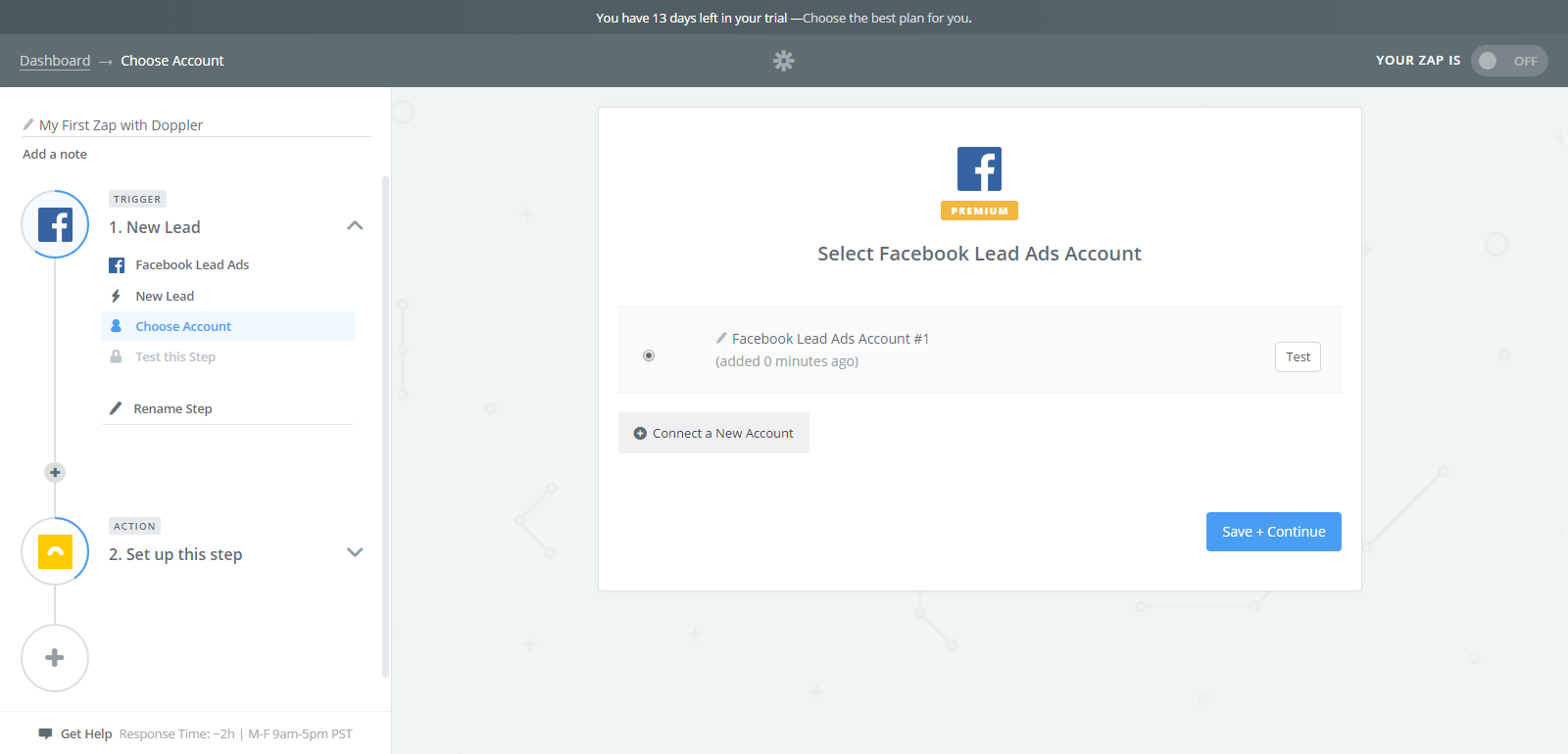 Doppler- Facebook Lead Ads Integration- Select your Facebook account