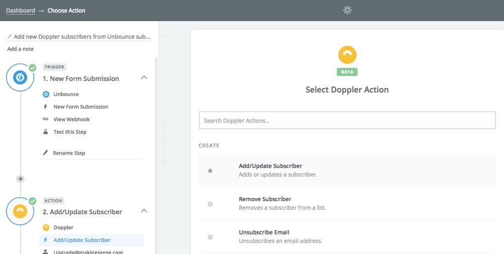 Integrar Doppler con Unbounce: Add Subscriber
