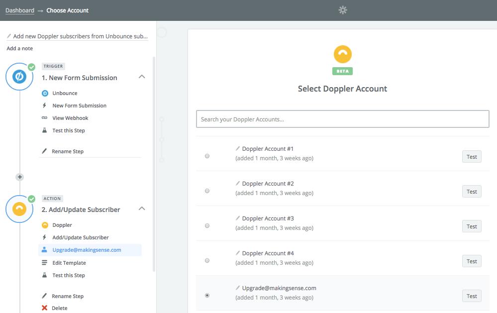 Doppler - Unbounce Integration: connect your Doppler account
