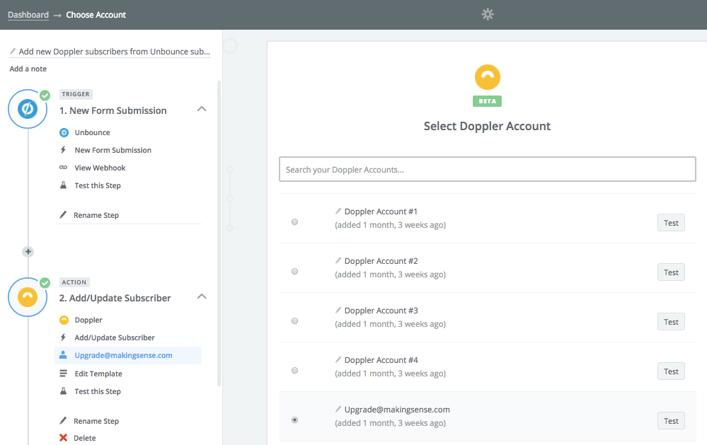 Integrar Doppler con Unbounce: Seleccionar cuenta de Doppler
