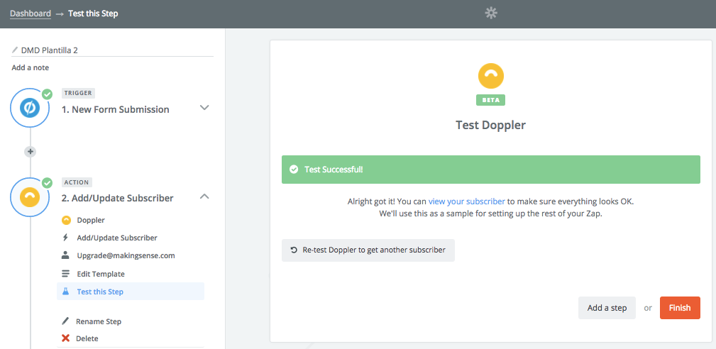 Doppler - Unbounce Integration: test action