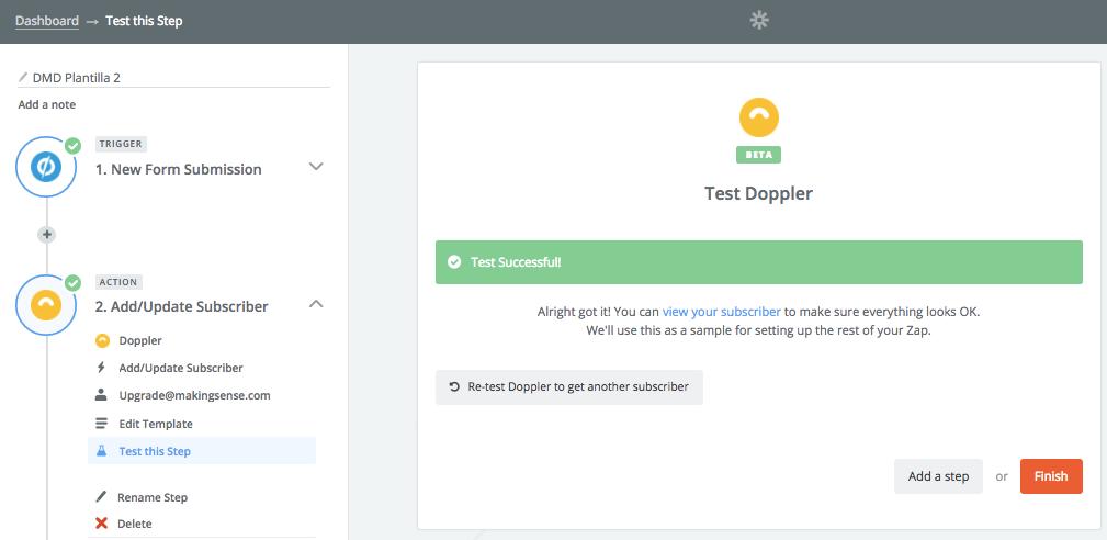 Integrar Doppler con Unbounce: test succesful
