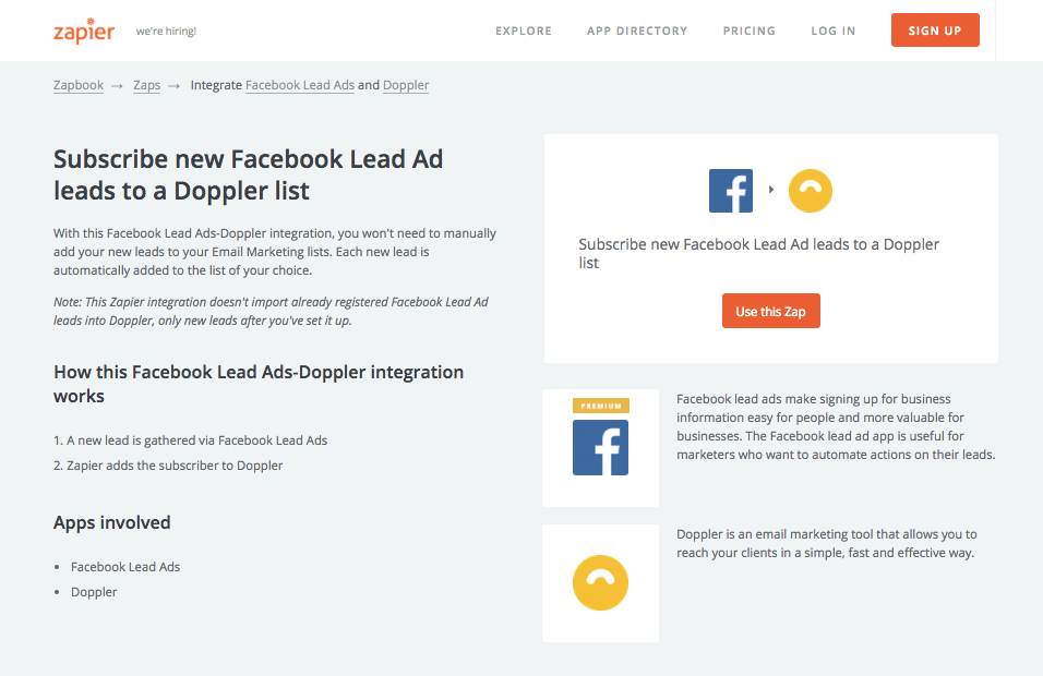 Integración Doppler - Facebook Lead Ads: Use this zap