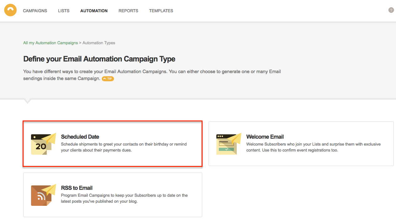 Create Scheduled Date Automation Campaign