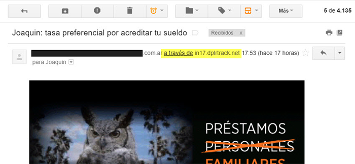 """A través de"" en el Email de Remitente - Gmail"