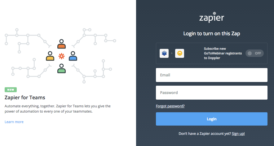Log in to Zapier