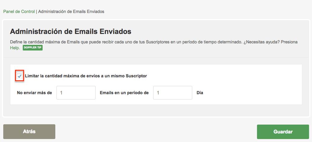 Tildar la opción Limitar la cantidad de envíos a un mismo Suscriptor