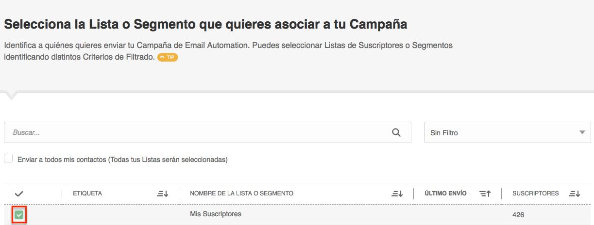 Automation por Comportamiento en Email: elegir Lista
