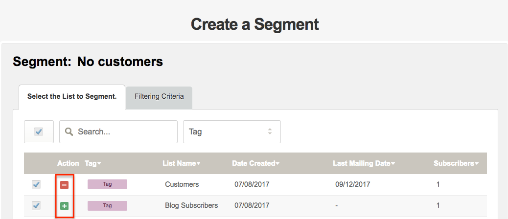 Add and subtract Subscribers of a Segment from Subscribers