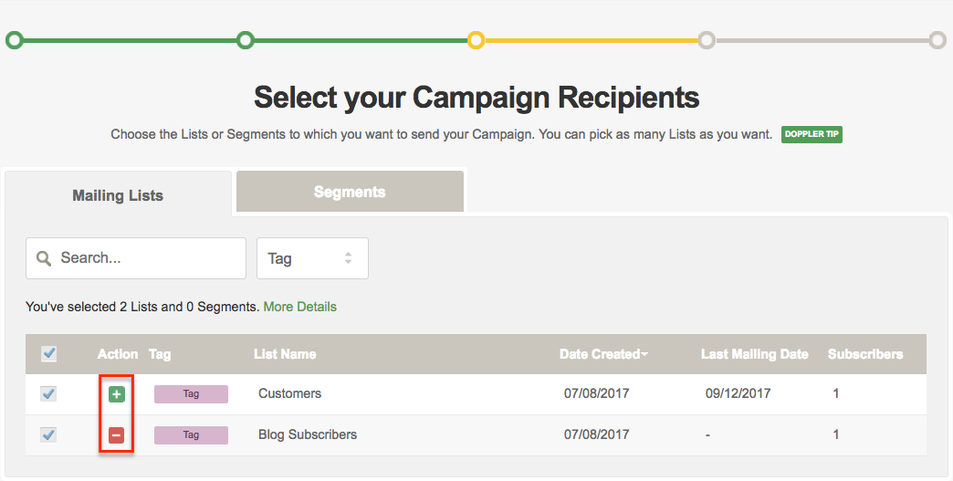 Add and subtract Subscribers of your Campaign recipients