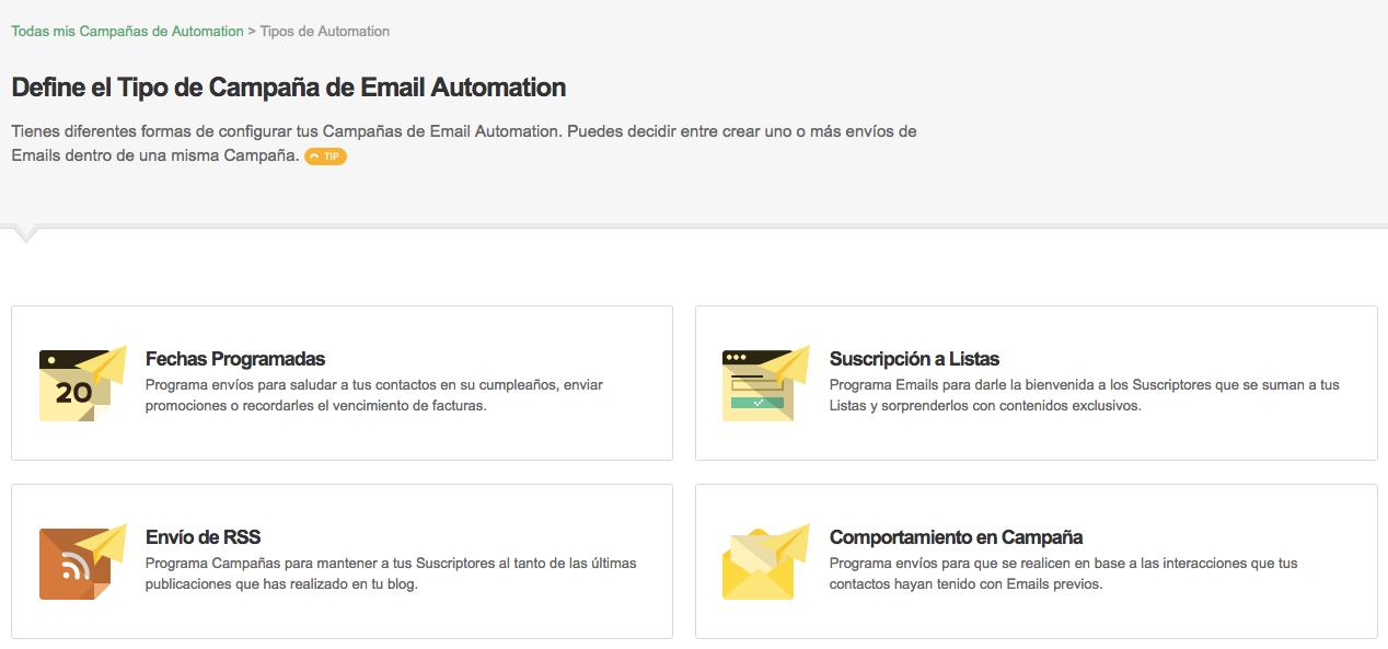 Tipos de Campañas de Email Automation