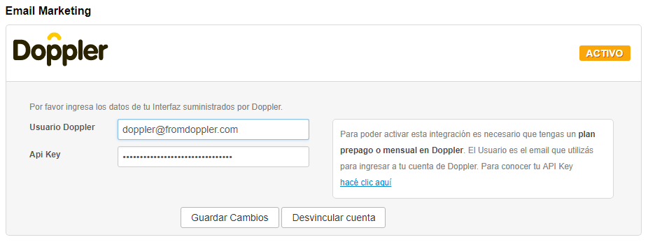 Completa tu usuario y API key.