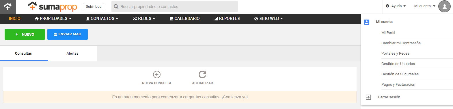 "Select the ""Portales y Redes"" option."