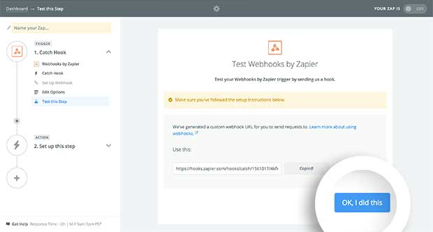 Test your Webhook in Zapier.