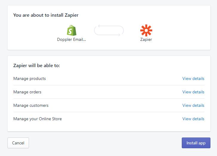 Instala la app de Zapier en tu tienda.