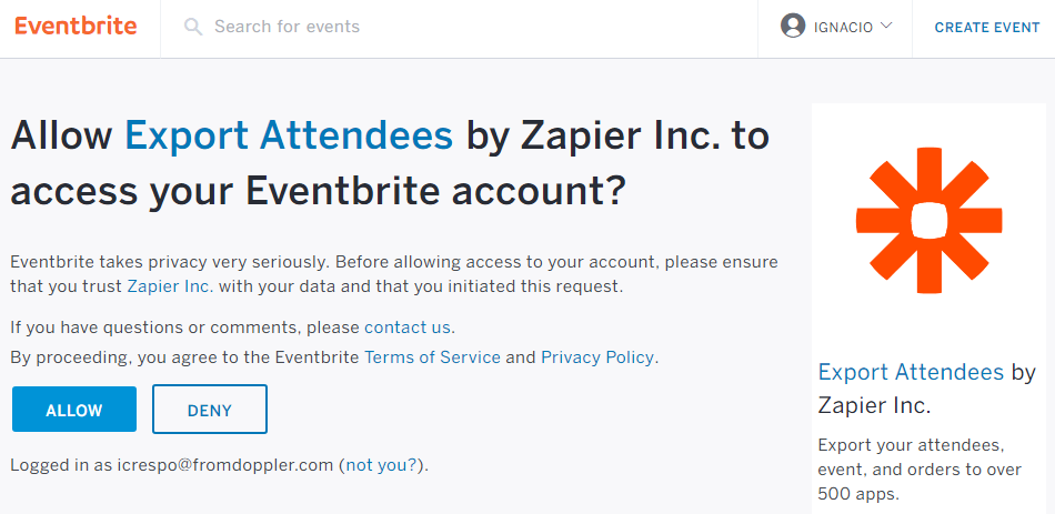 Allow Zapier to access your Eventbrite account.
