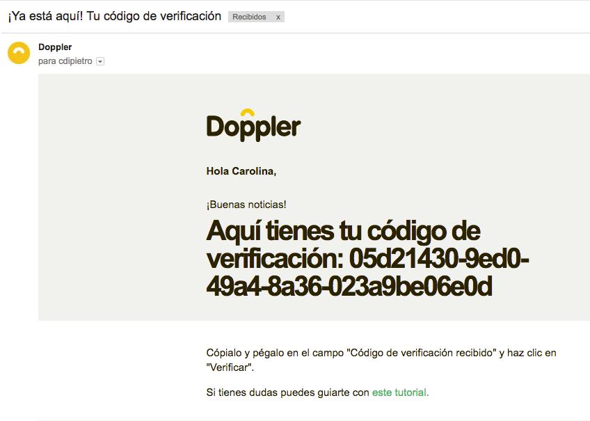 Email con código de verificación