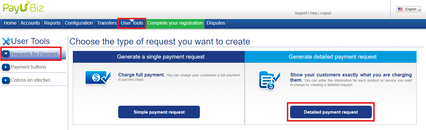 "Select the ""Detailed payment request""."
