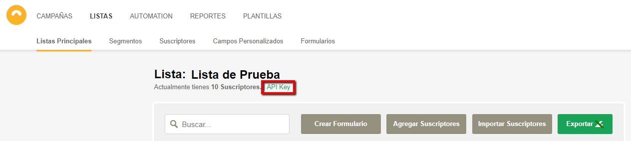 """Has clic en la opción """"Api Key""""."""