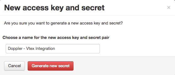 New access key and secret Vtex