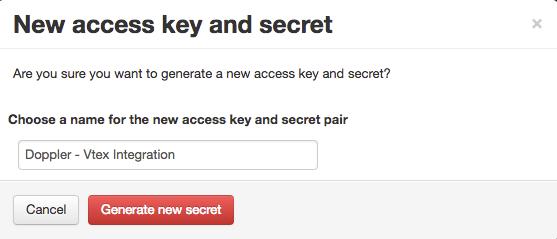 New access key and secret Vtex