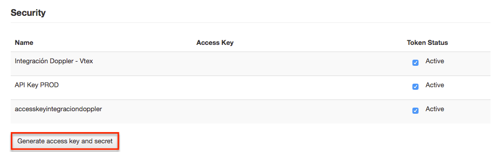 Generate access key Vtex