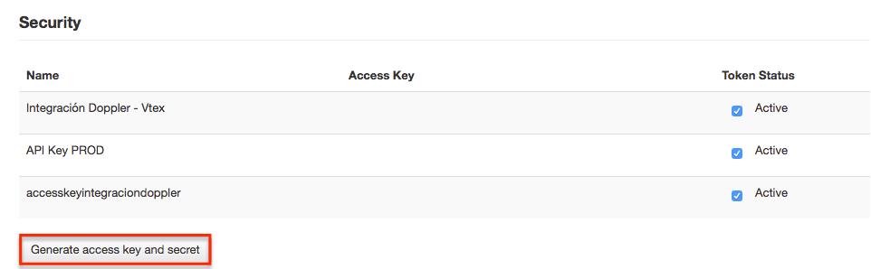 Generate access key Vtex