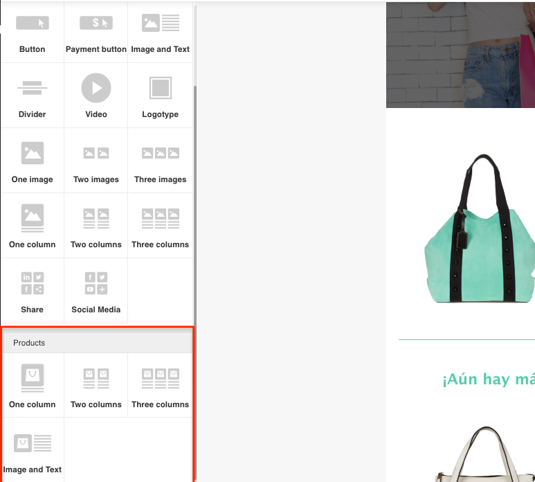 Products section in the Templates Editor