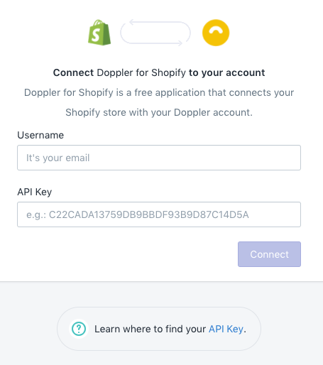 Enter Doppler username and API Key