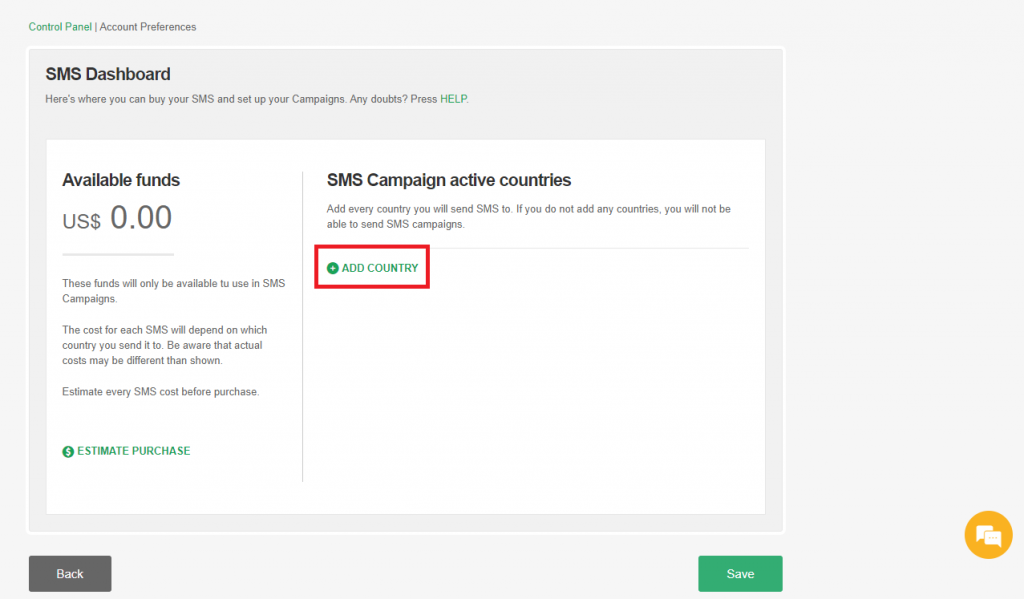 Add Country for your SMS