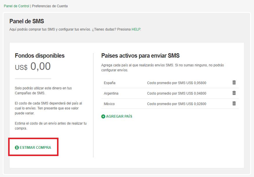 Estimar compra de SMS