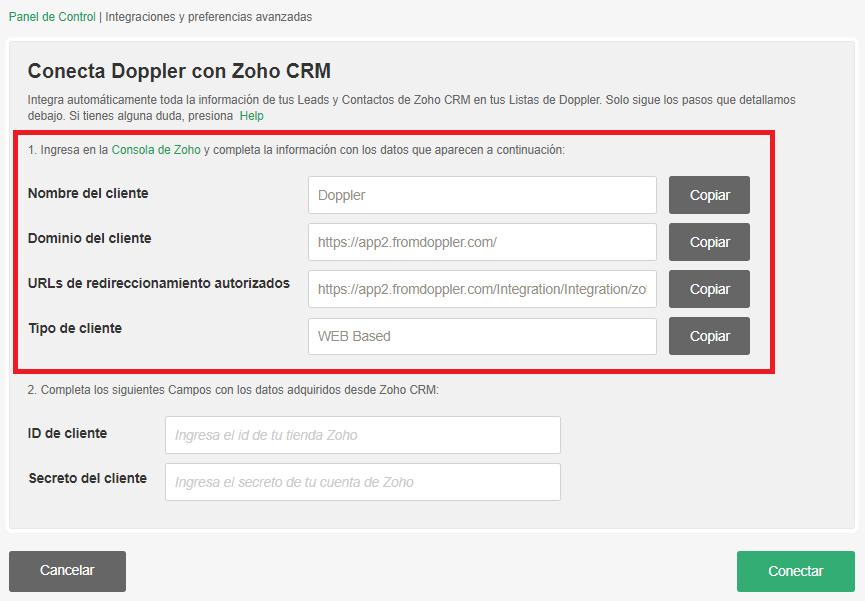 Integración Zoho con Doppler
